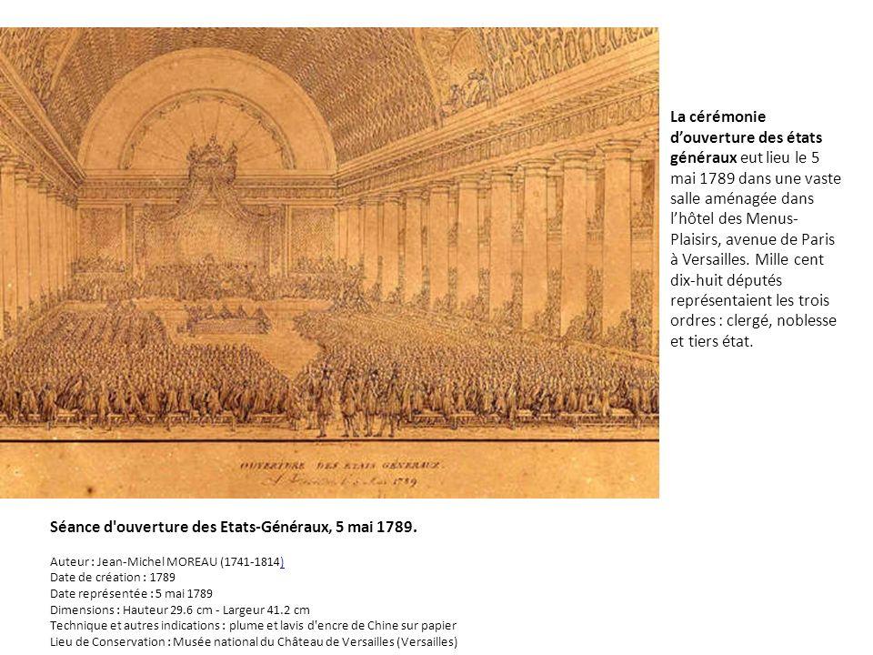 La cérémonie d'ouverture des états généraux eut lieu le 5 mai 1789 dans une vaste salle aménagée dans l'hôtel des Menus-Plaisirs, avenue de Paris à Versailles. Mille cent dix-huit députés représentaient les trois ordres : clergé, noblesse et tiers état.