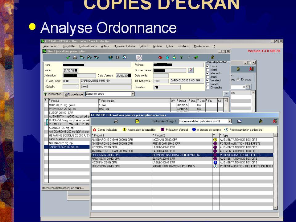 COPIES D'ECRAN Analyse Ordonnance V. Pinon APRHOC 2005 04/10/05