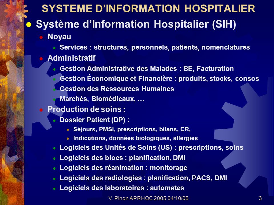 SYSTEME D'INFORMATION HOSPITALIER