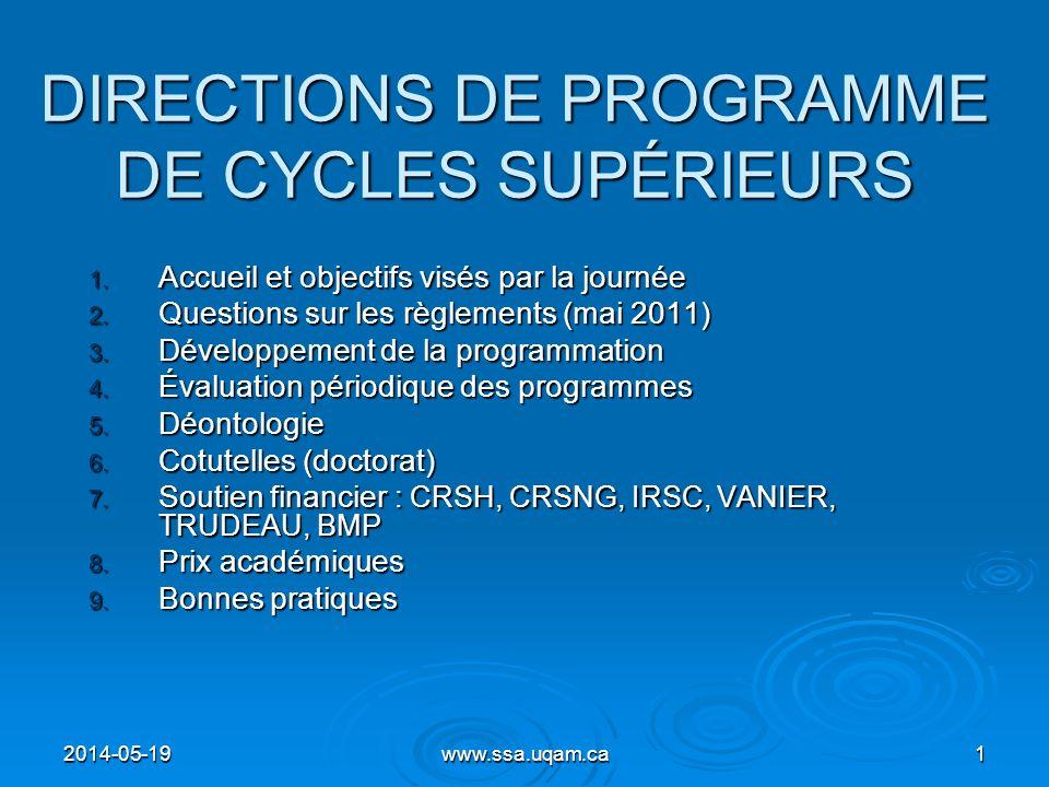 DIRECTIONS DE PROGRAMME DE CYCLES SUPÉRIEURS