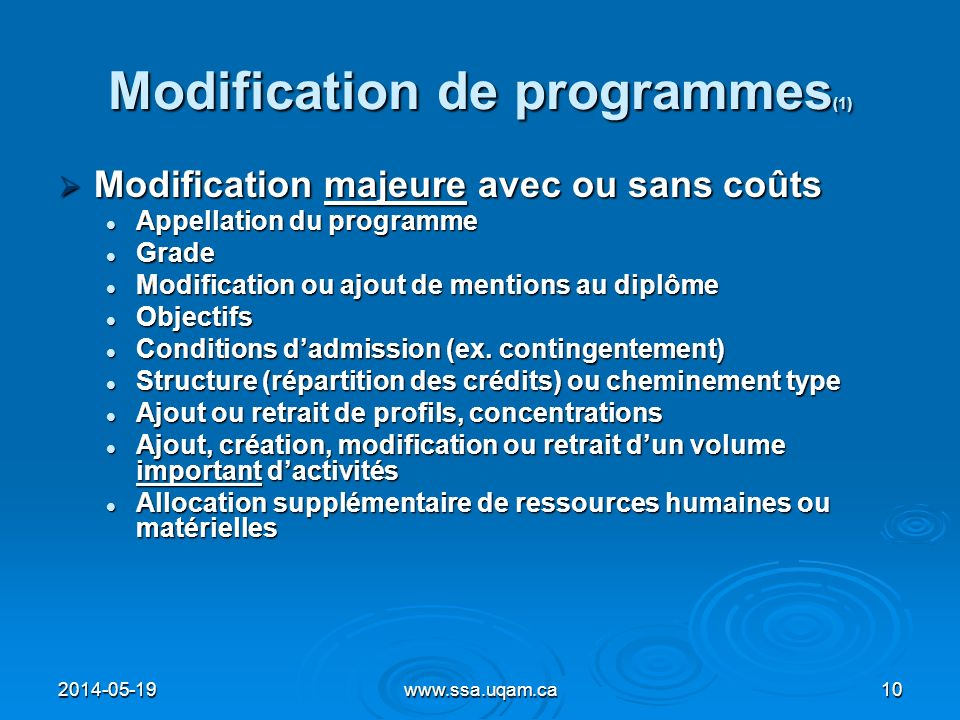 Modification de programmes(1)
