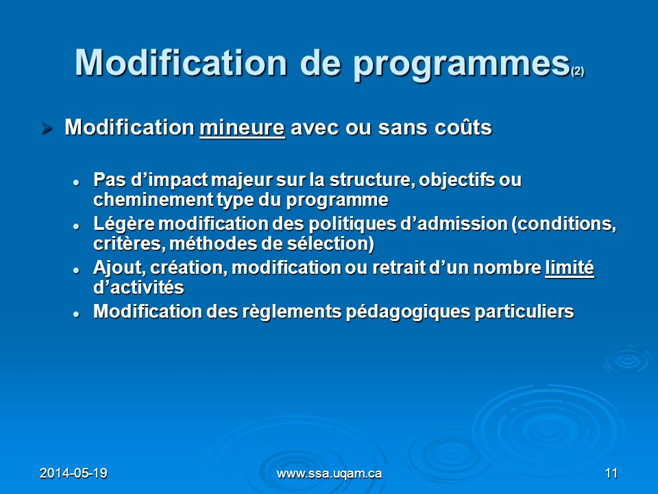 Modification de programmes(2)