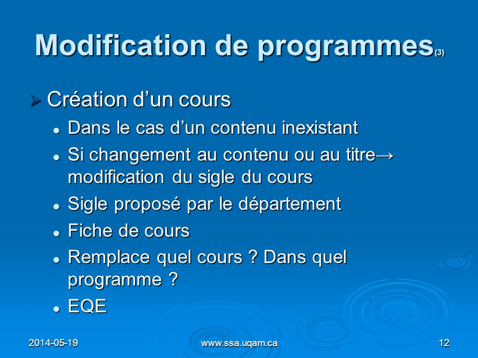 Modification de programmes(3)
