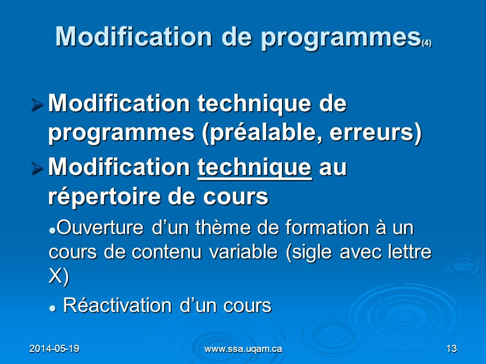 Modification de programmes(4)