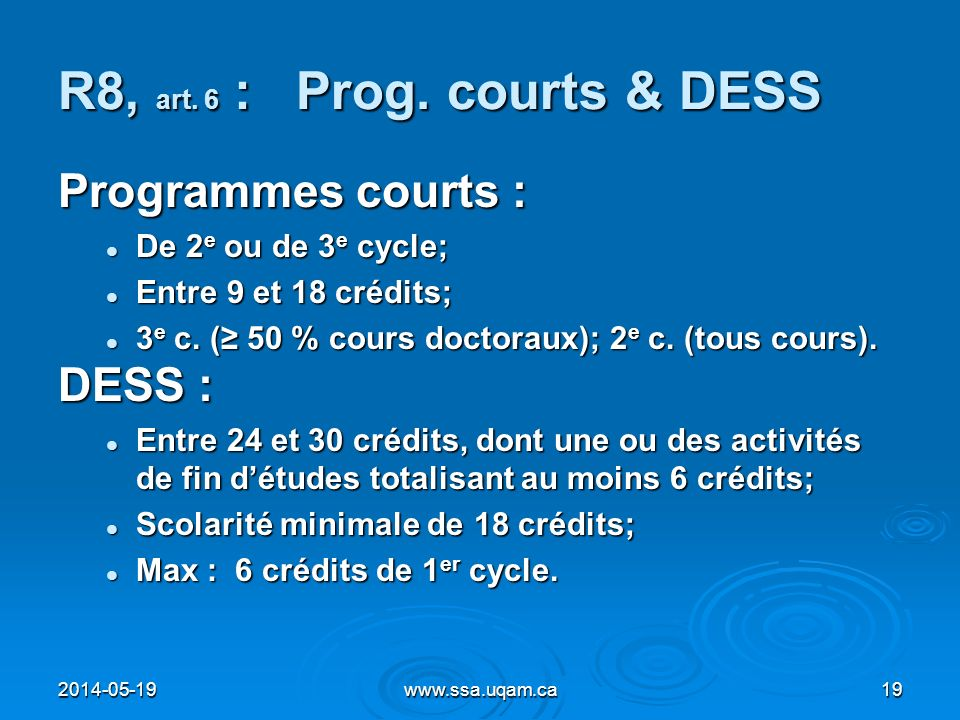 R8, art. 6 : Prog. courts & DESS