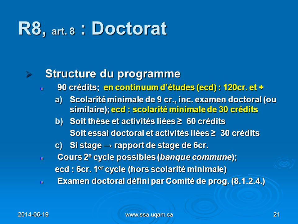 R8, art. 8 : Doctorat Structure du programme
