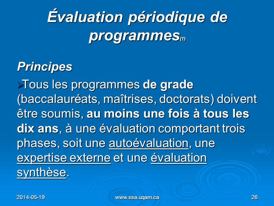 Évaluation périodique de programmes(1)