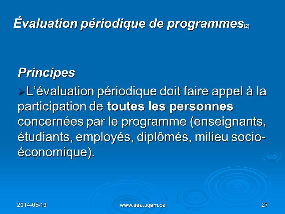 Évaluation périodique de programmes(2)