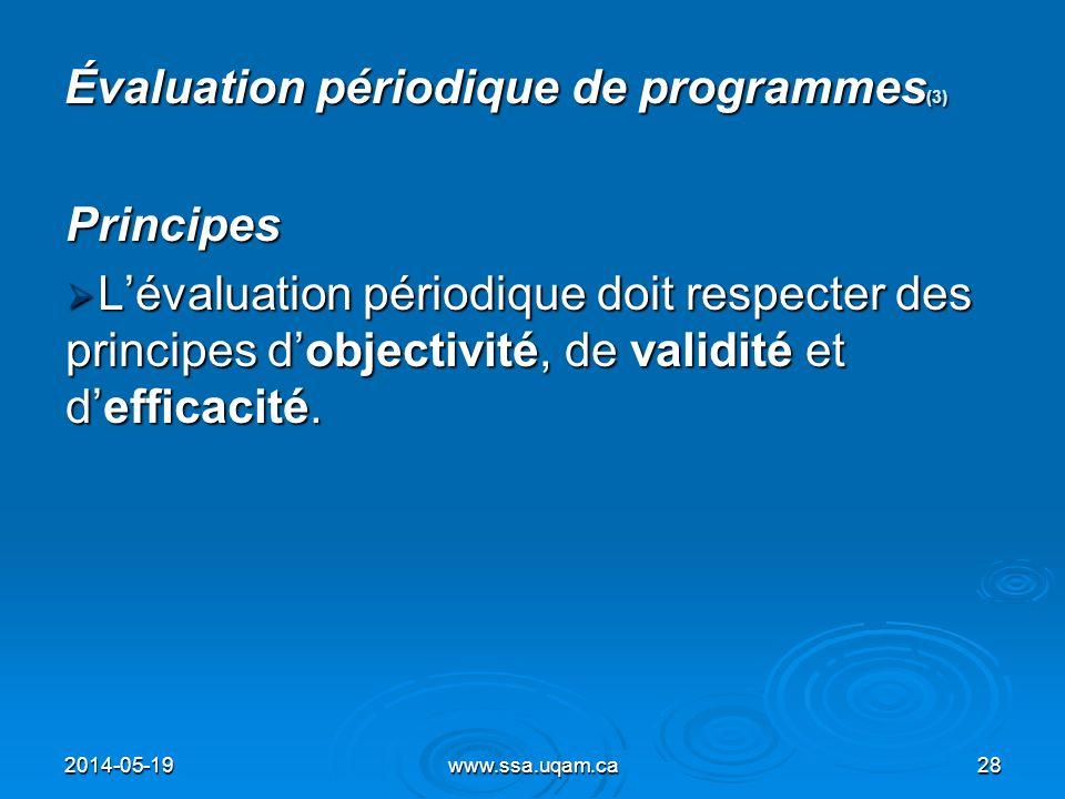 Évaluation périodique de programmes(3)