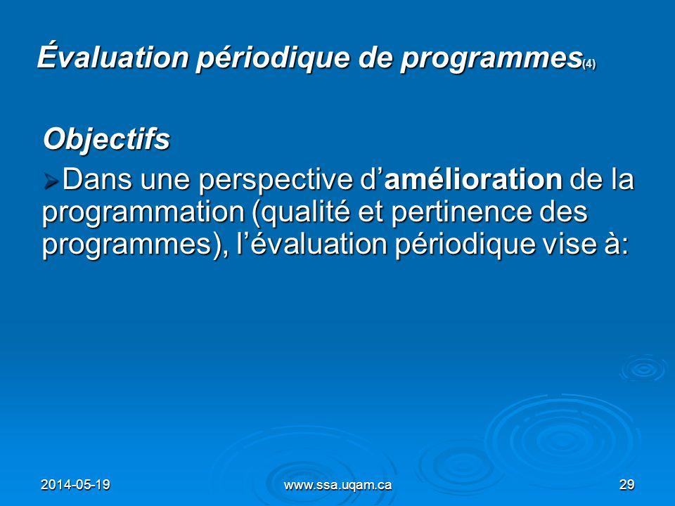 Évaluation périodique de programmes(4)