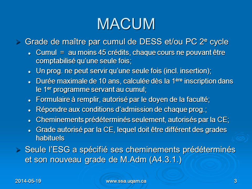 MACUM Grade de maître par cumul de DESS et/ou PC 2e cycle