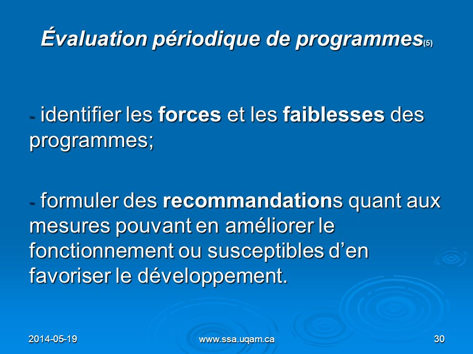 Évaluation périodique de programmes(5)