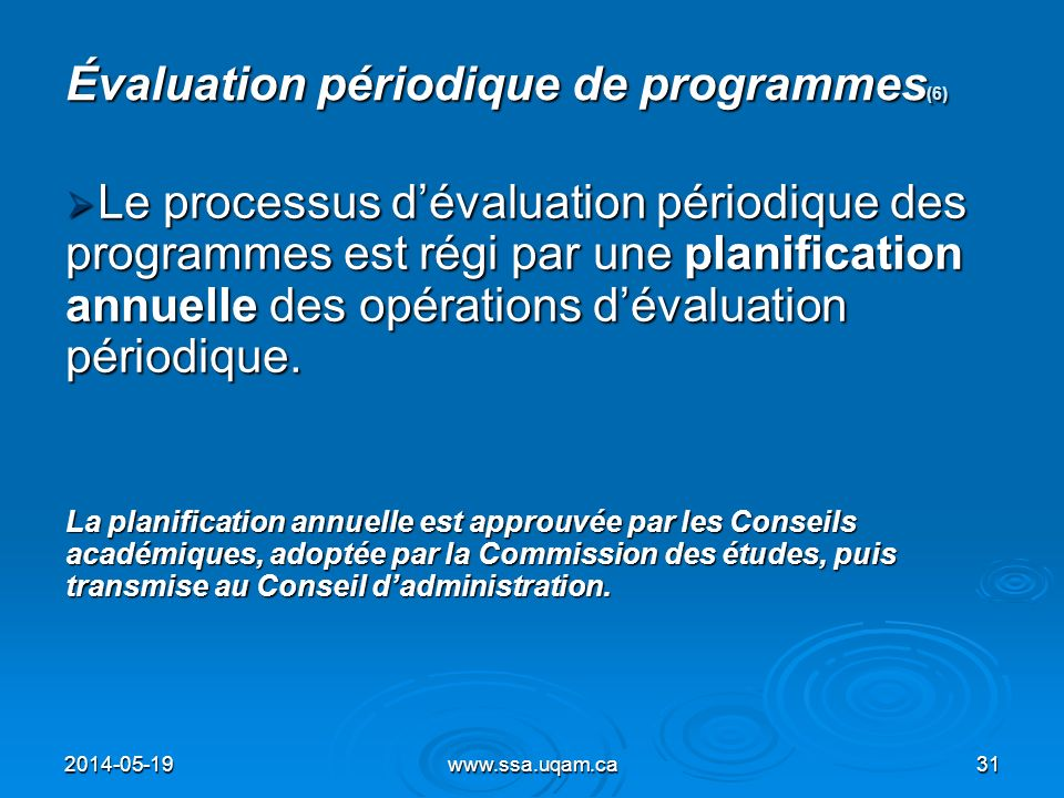 Évaluation périodique de programmes(6)