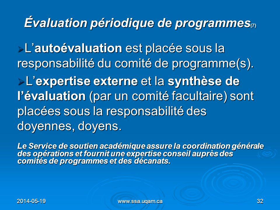 Évaluation périodique de programmes(7)