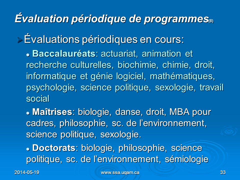 Évaluation périodique de programmes(8)