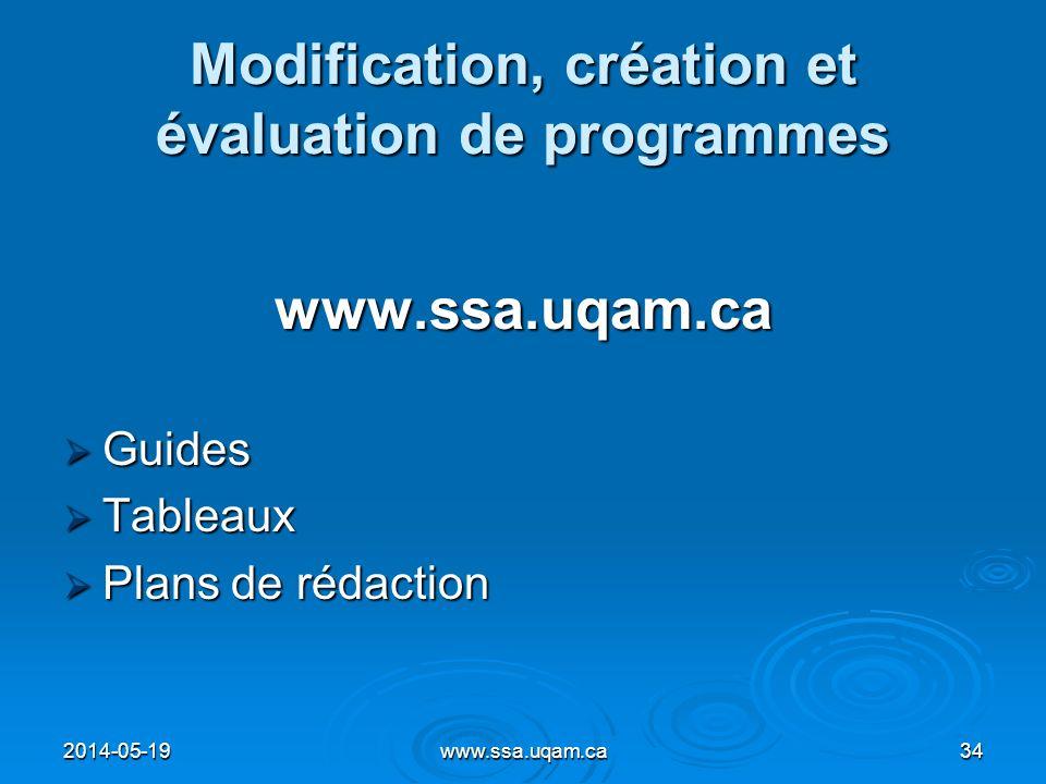 Modification, création et évaluation de programmes