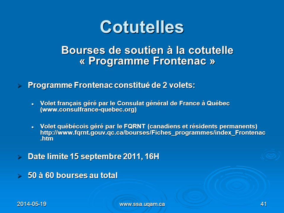 Bourses de soutien à la cotutelle « Programme Frontenac »