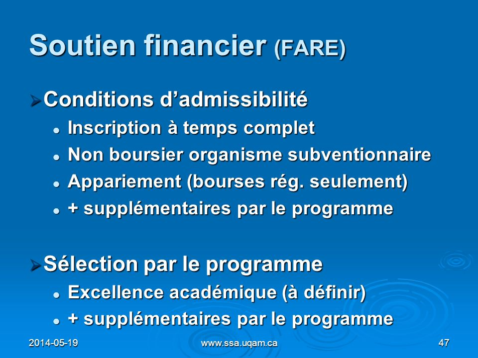 Soutien financier (FARE)