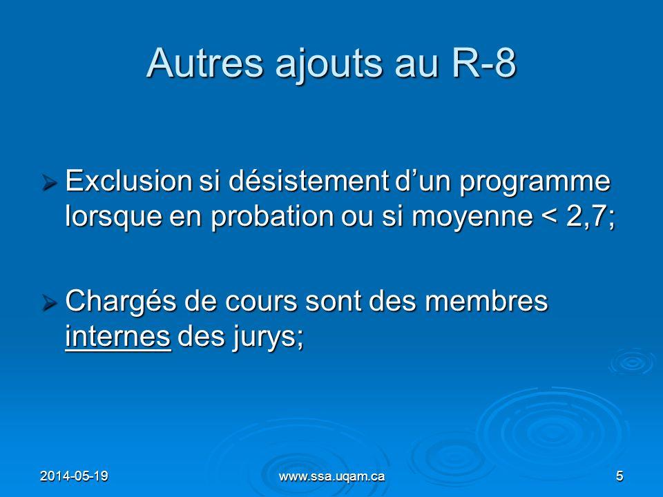 Autres ajouts au R-8 Exclusion si désistement d'un programme lorsque en probation ou si moyenne < 2,7;