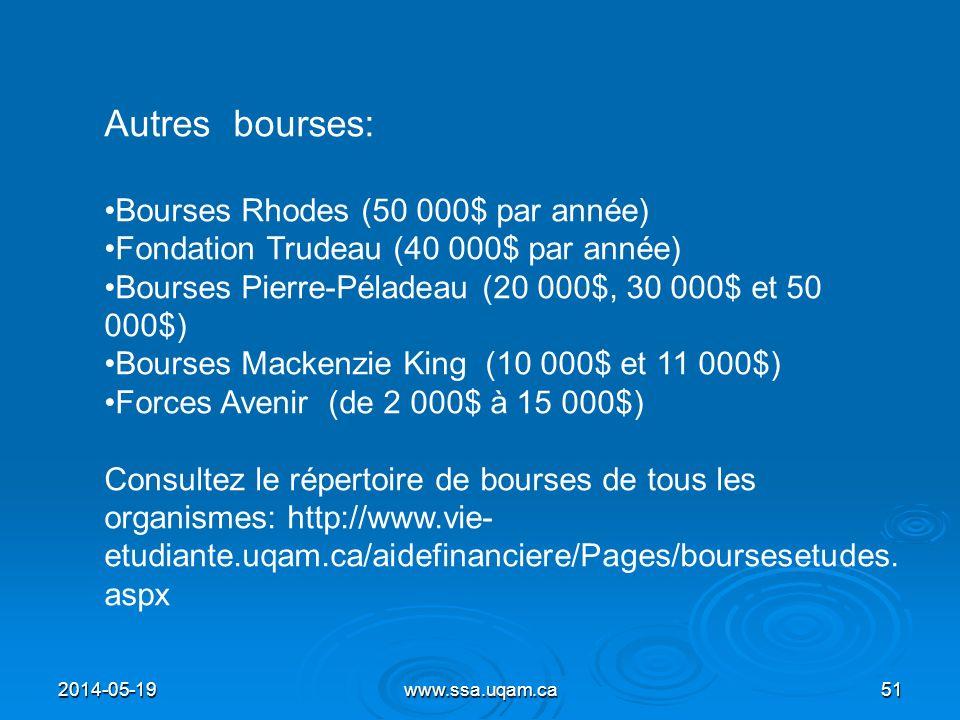 Autres bourses: Bourses Rhodes (50 000$ par année)