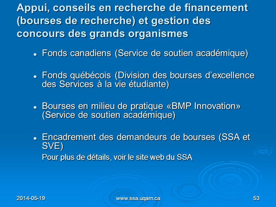 Appui, conseils en recherche de financement (bourses de recherche) et gestion des concours des grands organismes