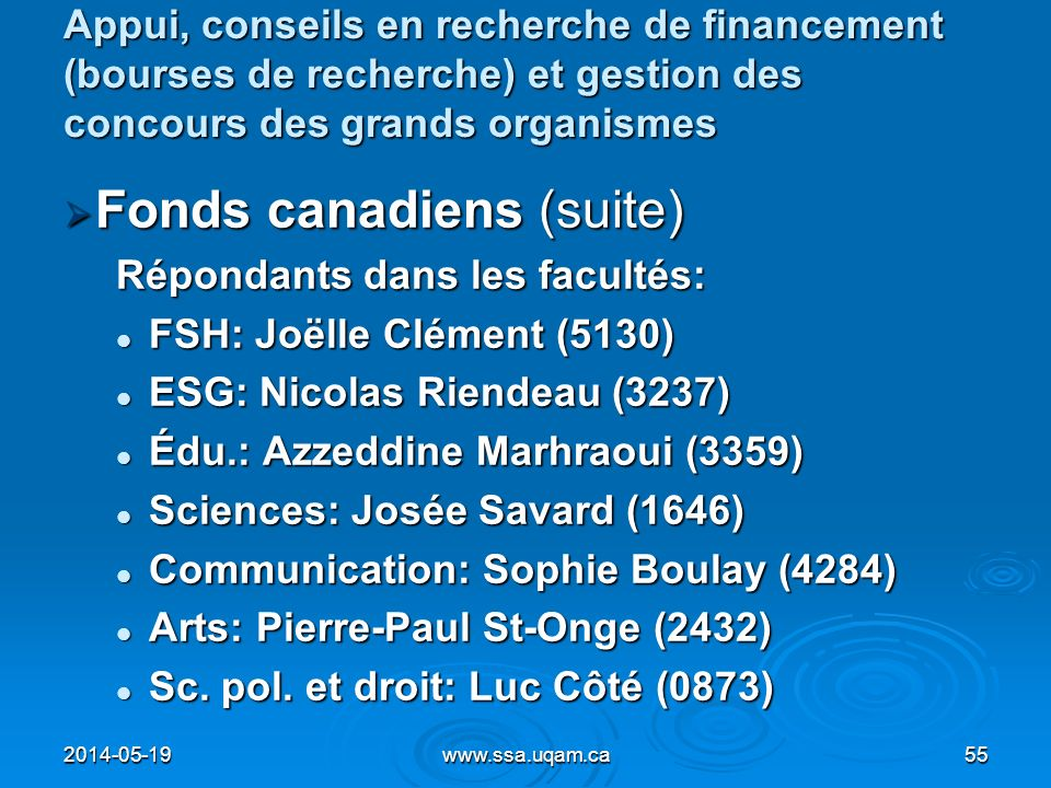 Fonds canadiens (suite)