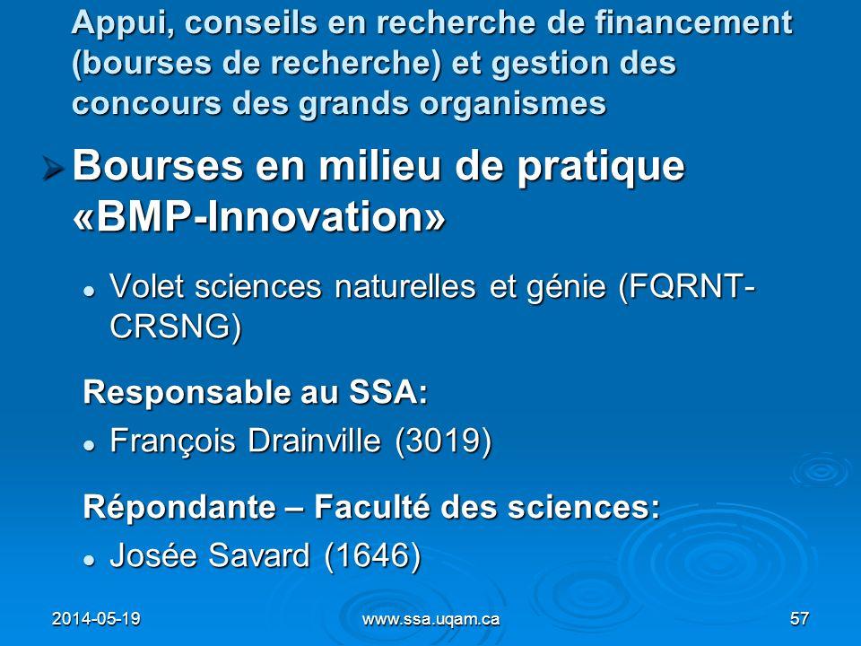 Bourses en milieu de pratique «BMP-Innovation»
