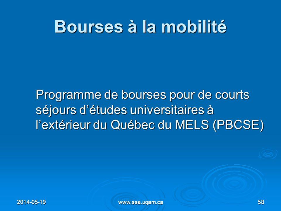 Bourses à la mobilité Programme de bourses pour de courts séjours d'études universitaires à l'extérieur du Québec du MELS (PBCSE)