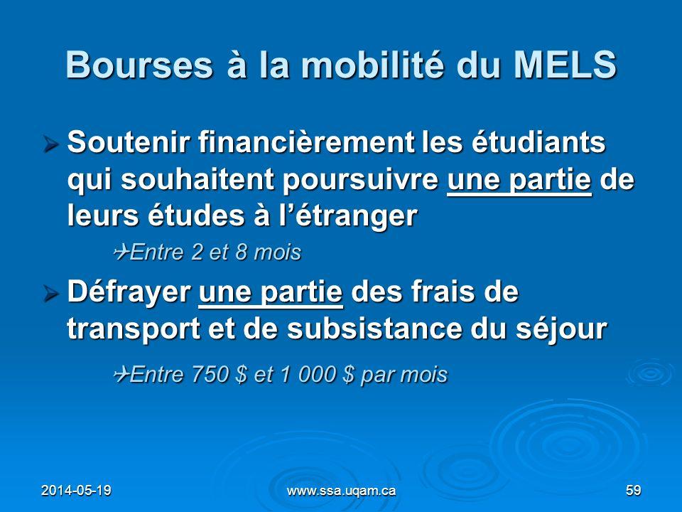 Bourses à la mobilité du MELS