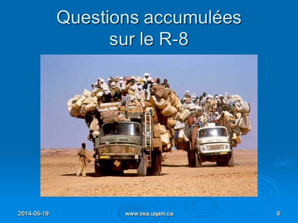 Questions accumulées sur le R-8