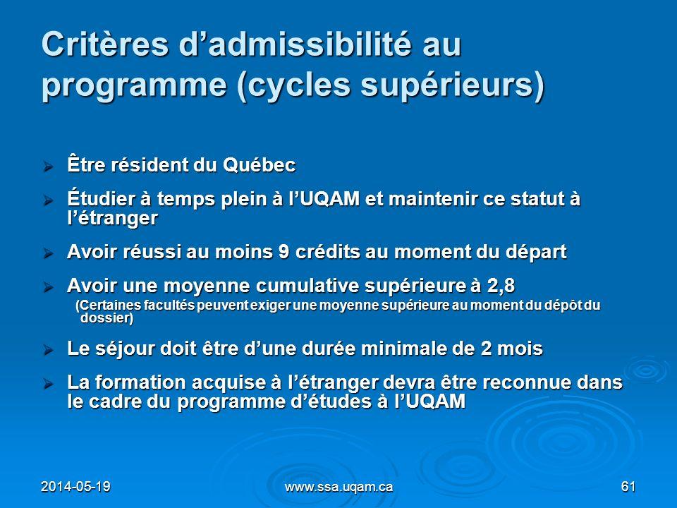 Critères d'admissibilité au programme (cycles supérieurs)