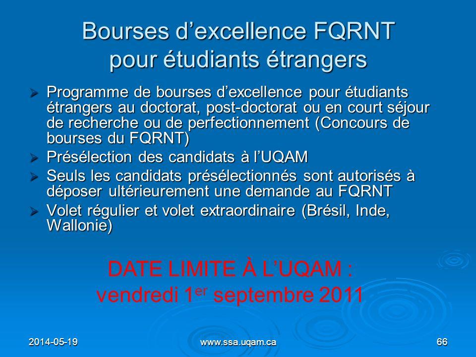 Bourses d'excellence FQRNT pour étudiants étrangers
