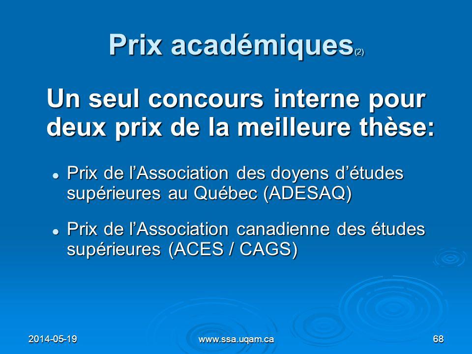 Prix académiques(2) Un seul concours interne pour deux prix de la meilleure thèse:
