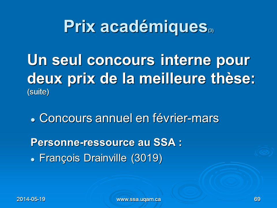 Prix académiques(3) Un seul concours interne pour deux prix de la meilleure thèse: (suite) Concours annuel en février-mars.