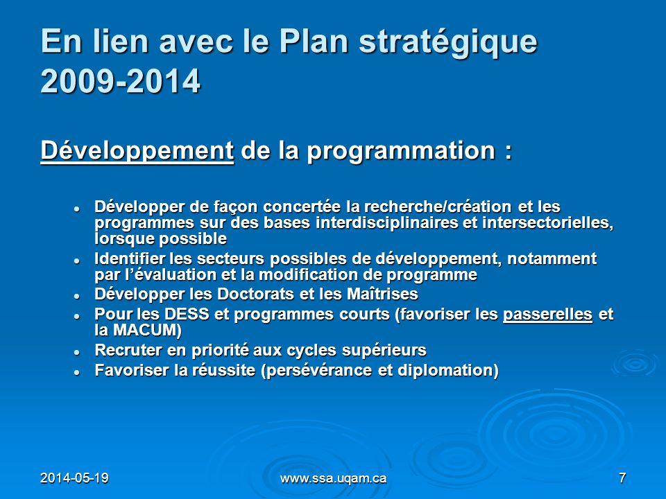 En lien avec le Plan stratégique 2009-2014