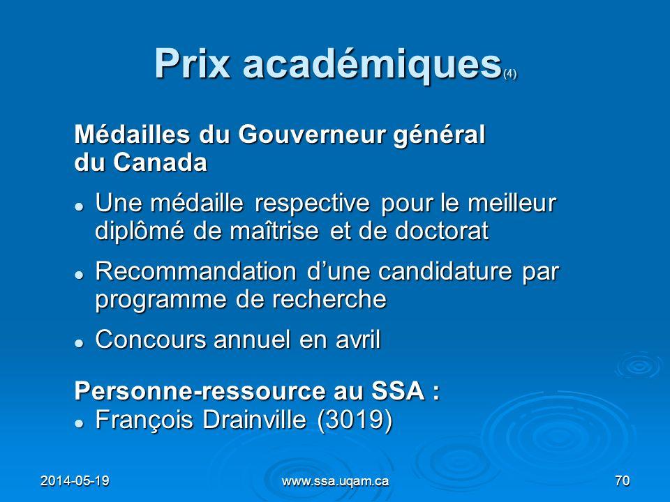 Prix académiques(4) Médailles du Gouverneur général du Canada