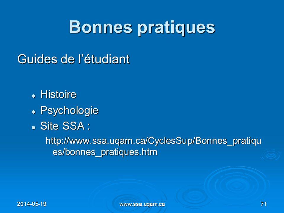 Bonnes pratiques Guides de l'étudiant Histoire Psychologie Site SSA :
