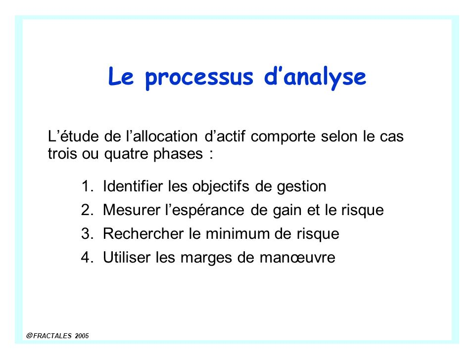 Le processus d'analyse