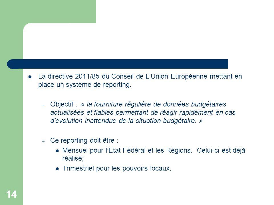 La directive 2011/85 du Conseil de L'Union Européenne mettant en place un système de reporting.