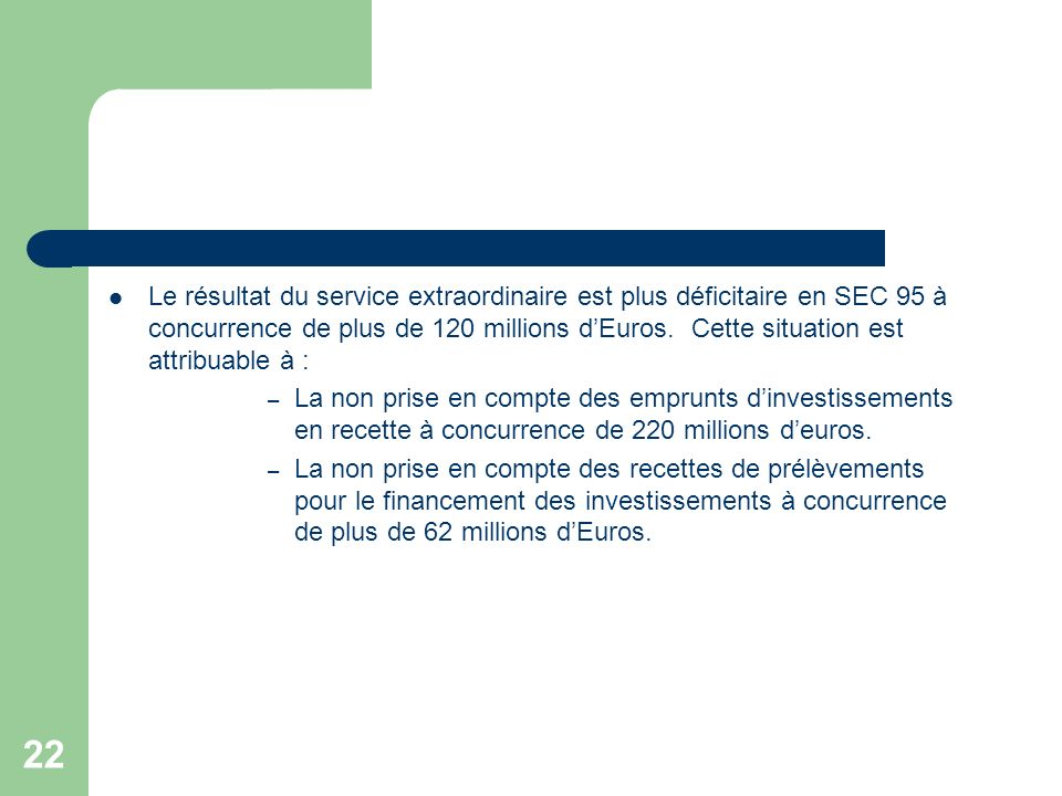 Le résultat du service extraordinaire est plus déficitaire en SEC 95 à concurrence de plus de 120 millions d'Euros. Cette situation est attribuable à :