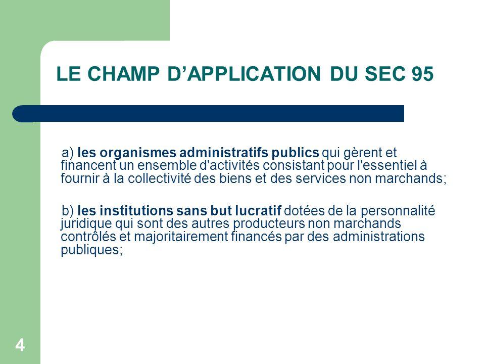 LE CHAMP D'APPLICATION DU SEC 95