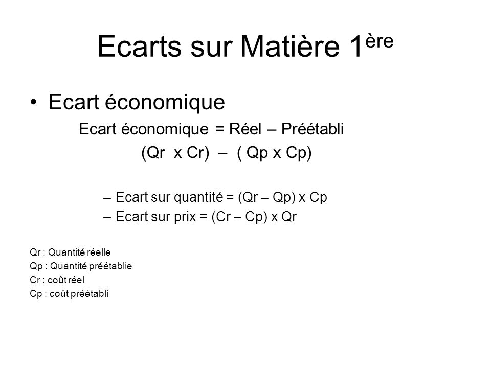 Ecarts sur Matière 1ère Ecart économique