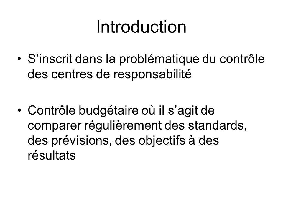 Introduction S'inscrit dans la problématique du contrôle des centres de responsabilité.