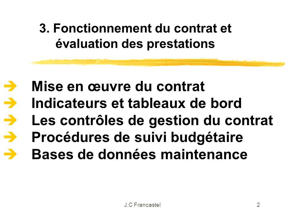 3. Fonctionnement du contrat et évaluation des prestations