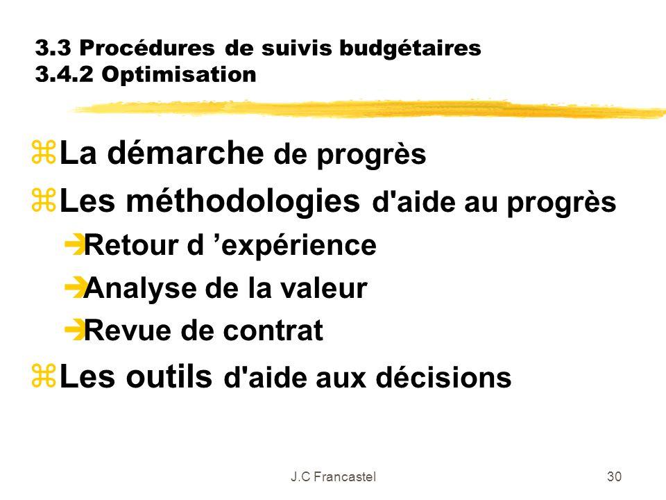 3.3 Procédures de suivis budgétaires 3.4.2 Optimisation