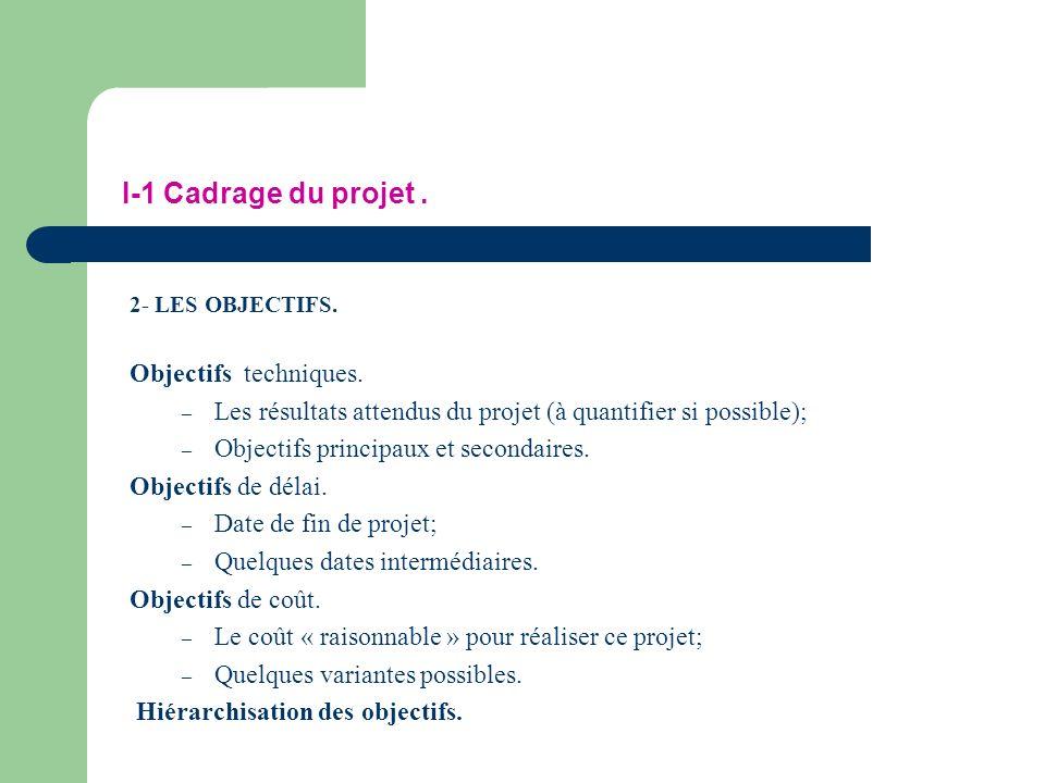 I-1 Cadrage du projet . Objectifs techniques.