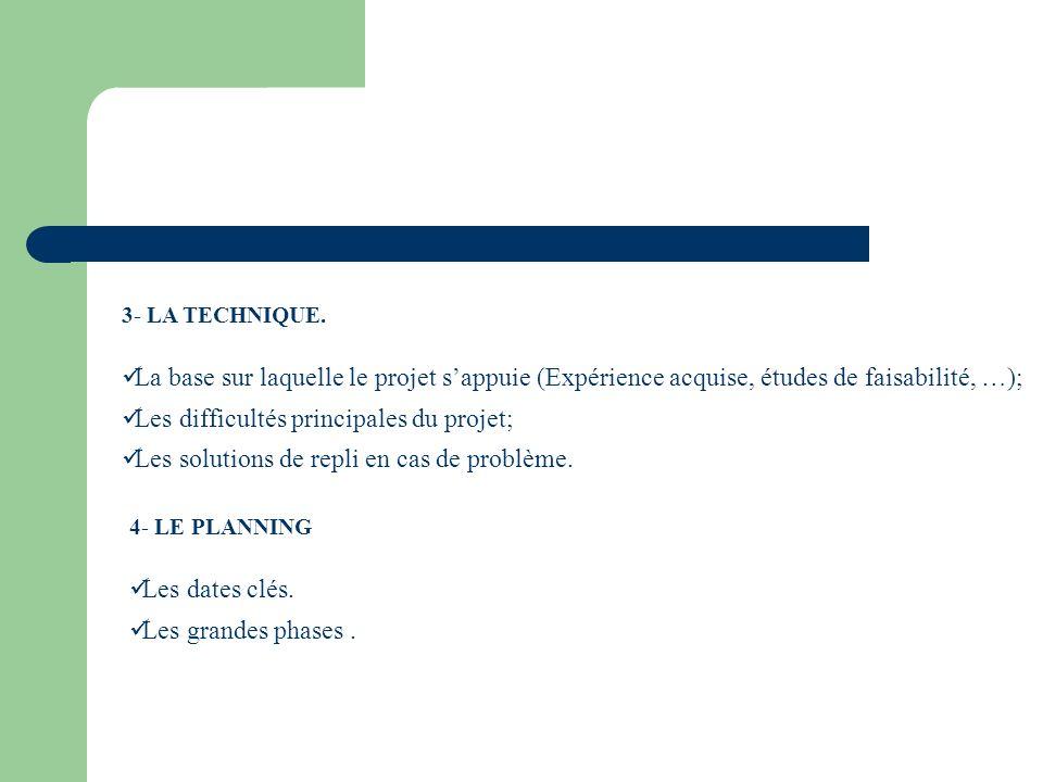 Les difficultés principales du projet;