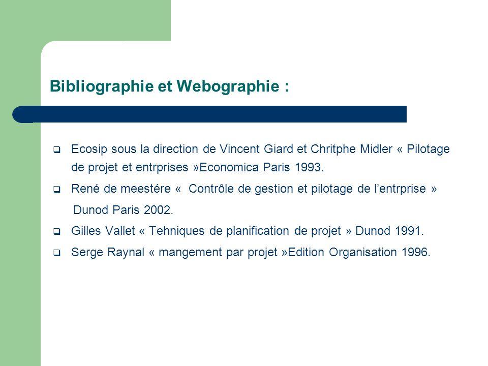 Bibliographie et Webographie :
