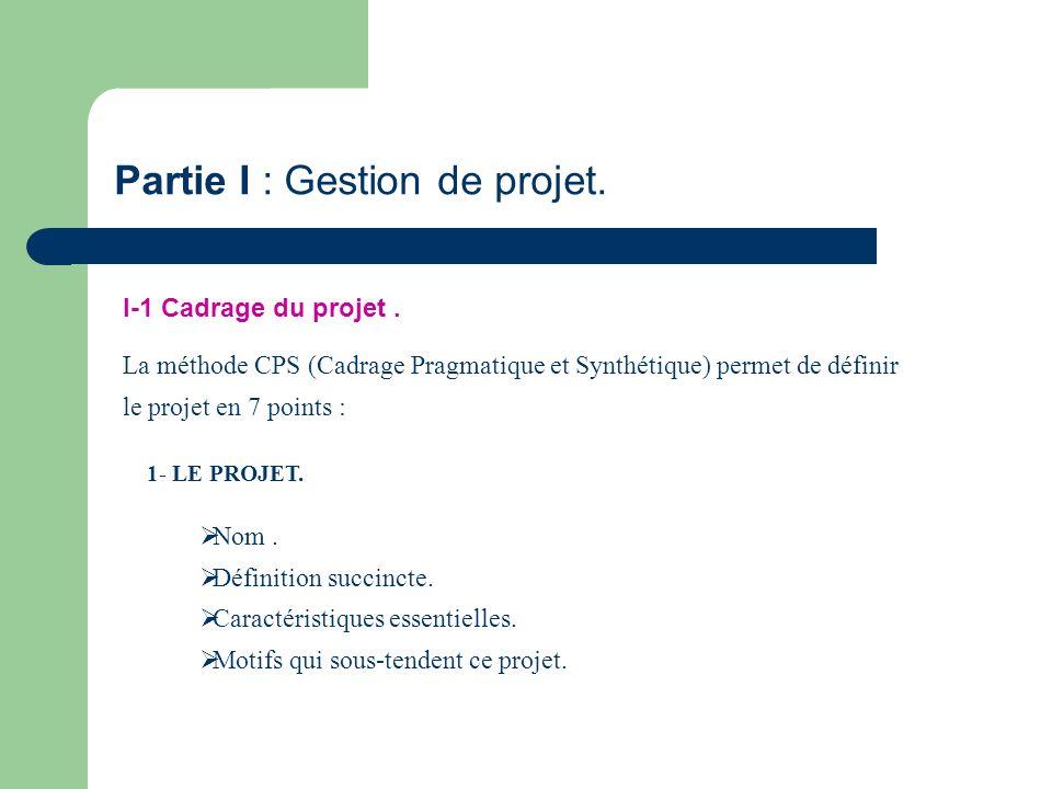 Partie I : Gestion de projet.
