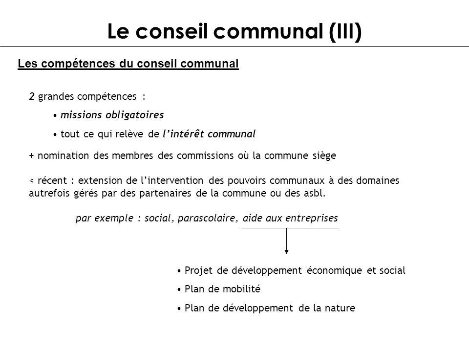 Le conseil communal (III)